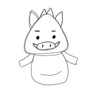 猪 イラスト 簡単13