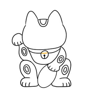 招き猫 イラスト 簡単