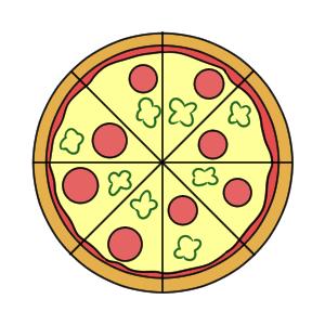 ピザ イラスト 簡単