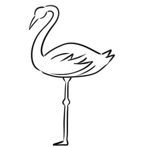 フラミンゴ イラスト 簡単