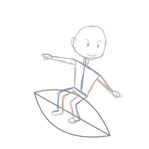 サーフィン イラスト 手書き